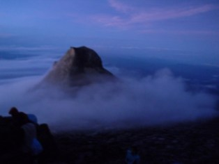 One of the lesser peaks of Mt Kinabalu in the gloom of pre-dawn