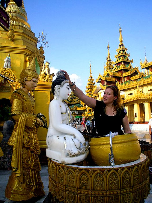 Pouring the water at Shwedagon, Yangon
