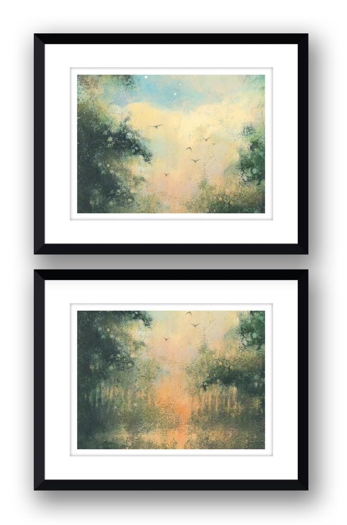 Reflections PairMartin Allan artist and printmaker prints art images sunset framed print