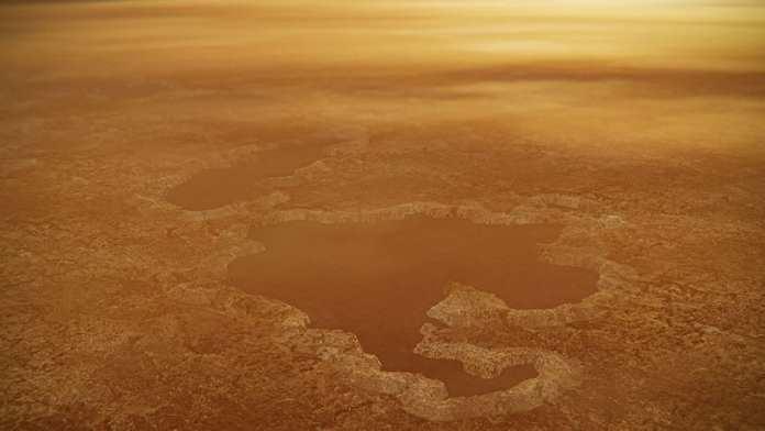 Concepto artístico de un lago en el polo norte de Titán, con bordes elevados y la características parecidas a una muralla, como las vistas por la nave espacial Cassini de la NASA alrededor del Lago Winnipeg de la luna. Crédito de la imagen: NASA/JPL-Caltech