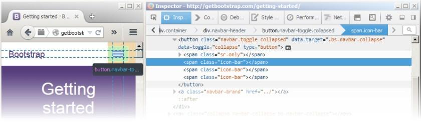 A web-inspector view of Bootstrap navbar <span.icon-bar>