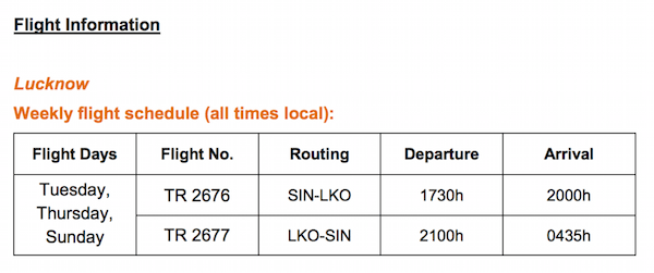 Tigerair Lucknow Flight Schedule