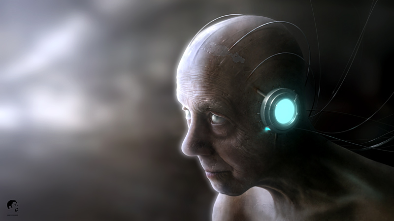 old and wise cyborg