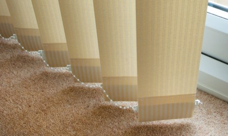vertical cream striped blinds