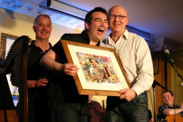 Recieving my Portrait from Stephen Bennet