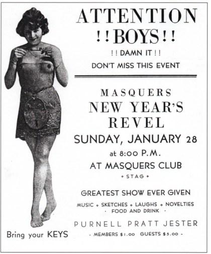 Masquers Club invite, 1923