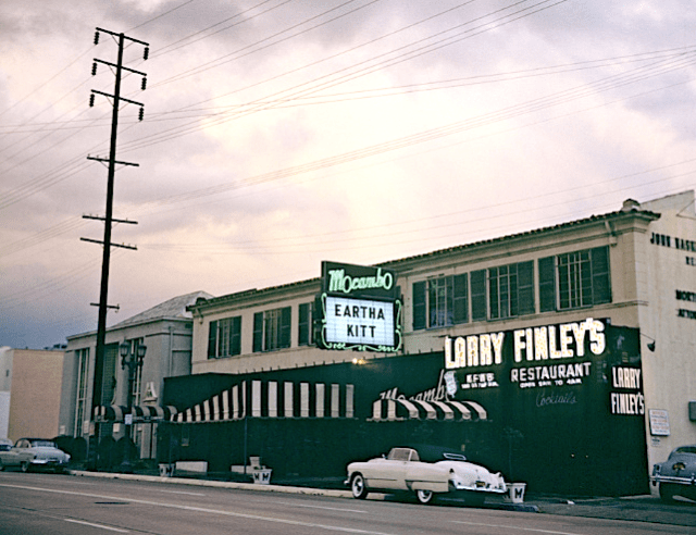 Larry Finley's restaurant above the Mocambo at 8590 Sunset Boulevard on the Sunset Strip