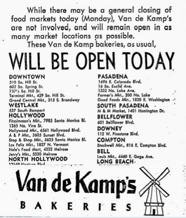 van de kamp's bakery locations