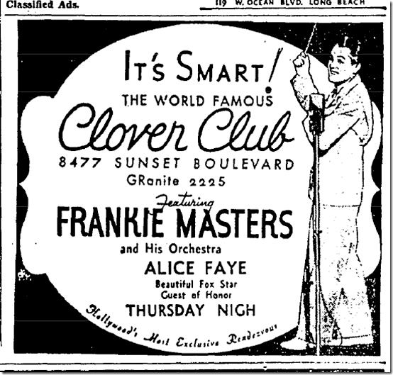 Newspaper advertisement for the Clover Club, Sunset Blvd