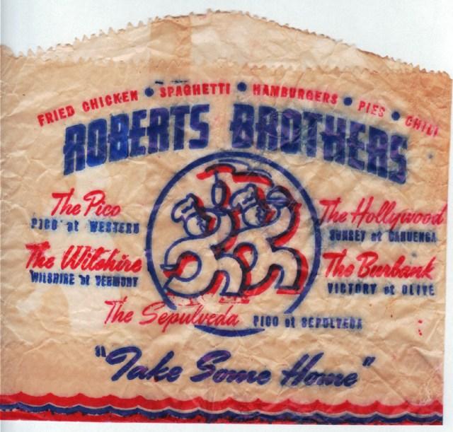 Robert Brother's drive-in restaurant bag