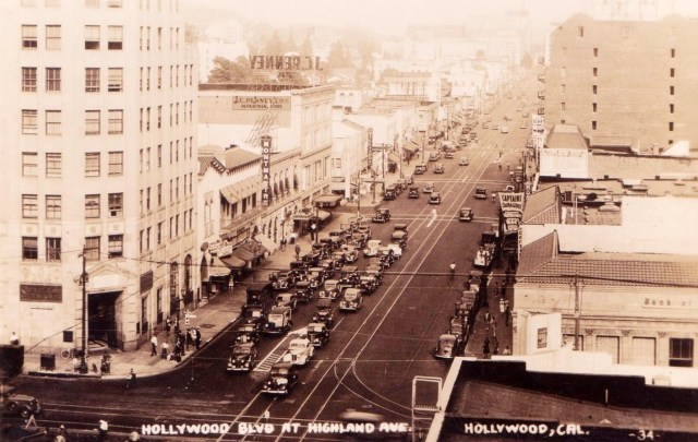 Looking east from the corner of Hollywood Blvd and Highland Ave, 1937