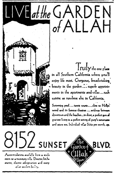 """Live at the Garden of Allah"" advertisement, July 10th, 1930"