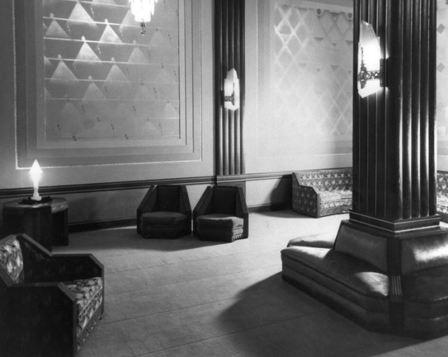 Circa 1929 shot of lounging chairs at the Pantages Theatre
