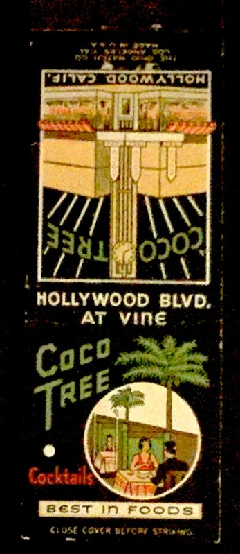 Coco Tree matchbook - Hollywood and Vine
