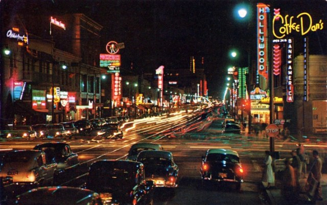 Color view of Hollywood Boulevard at night, 1950s