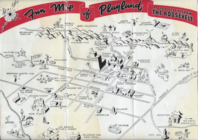 Hotel Roosevelt map of 1950s Hollywood