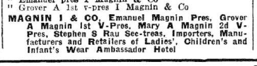 I Magnin Ambassador Hotel listing 1925 LA City Directory - 1