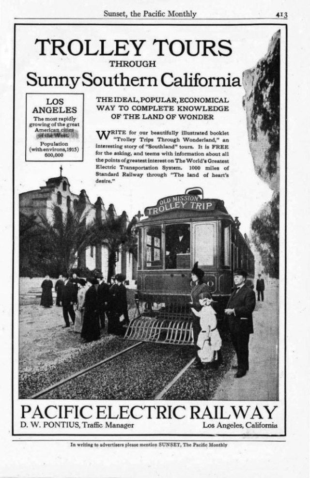 Advertisement for Pacific Electric Railway's Trolley Tours through Sunny Southern California, 1914