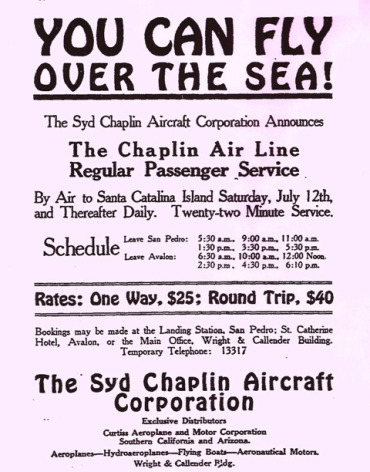 Advertisement for the Syd Chaplin Aircraft Corporation featuring their schedule of flights, circa 1919