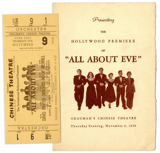 "Program and ticket for the Hollywood premiere of ""All About Eve"" held at Grauman's Chinese Theater, November 9th 1950"
