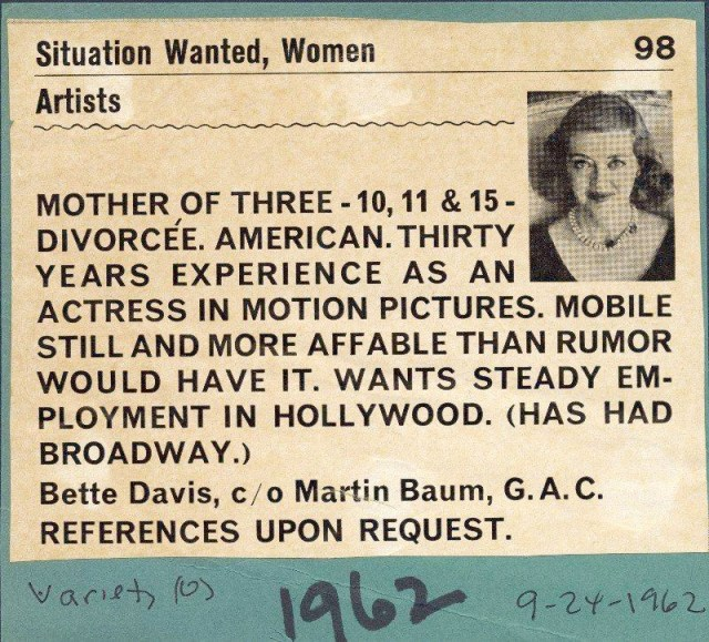 """Work wanted"" advertisement placed by Bette Davis in ""Variety"" in 1962"