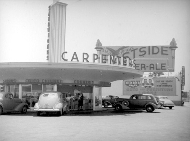 Carpenters drive-in restaurant, 6285 Sunset Boulevard at Vine St, Hollywood.