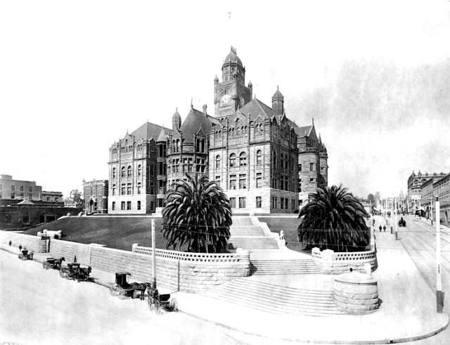 Los Angeles County Courthouse from the corner of Temple Street and Broadway, circa 1900.