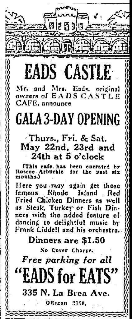 Eads Castle, 335 N. La Brea Ave May 1930 advertisement