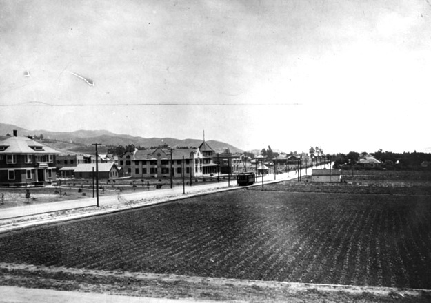 Hollywood Boulevard looking east from a point west of Highland Avenue in 1905, with strawberry patch on right