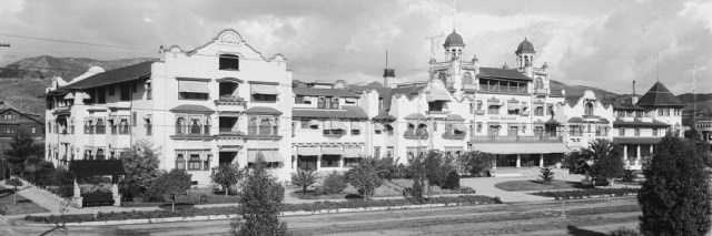 Panoramic photograph of the Hollywood Hotel, corner Hollywood and Highland