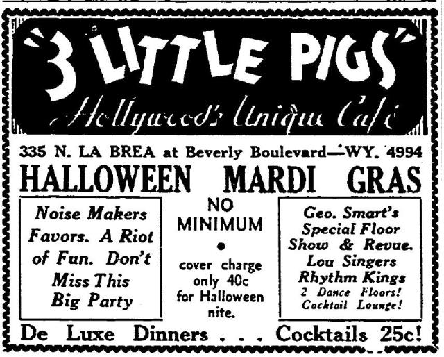 Three Little Pigs Cafe 335 N. La Brea Ave. October 1935 advertisement