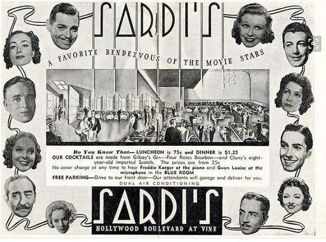 Advertisement for Sardi's restaurant, Hollywood Boulevard, circa mid-1930s