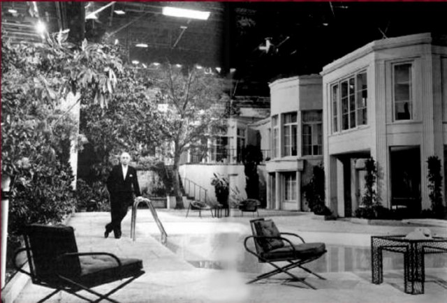 "An exact replica of the exterior of Cukor's house and pool area was built at 20th Century Fox for the ill-fated film ""Something's Got To Give"""
