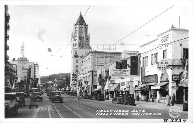 Hollywood Blvd, looking west towards Highland Ave, Christmas, mid-1930s