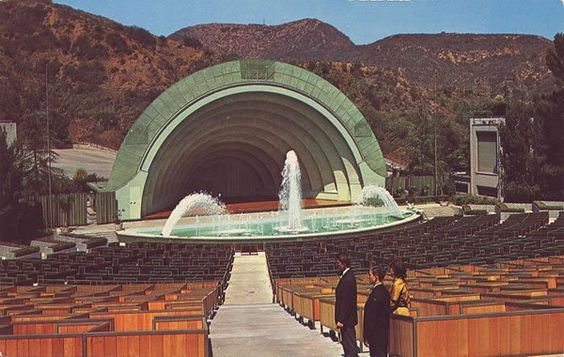 Hollywood Bowl with fountain, circa 1953