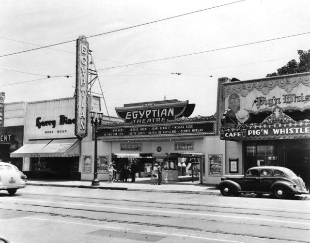 The Egyptian Theatre and Pig 'n' Whistle restaurant, Hollywood, Blvd, 1942