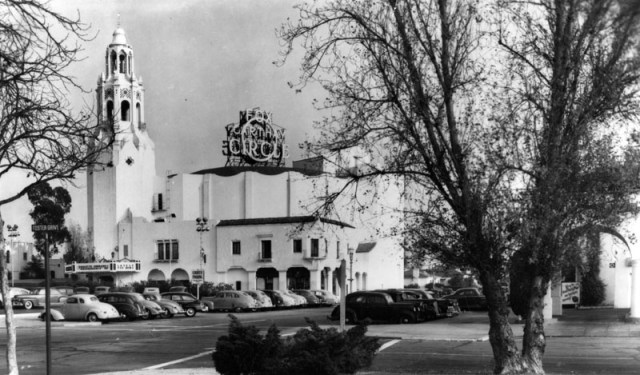 Daylight view of Carthay Circle Theatre with parking lot, circa 1939