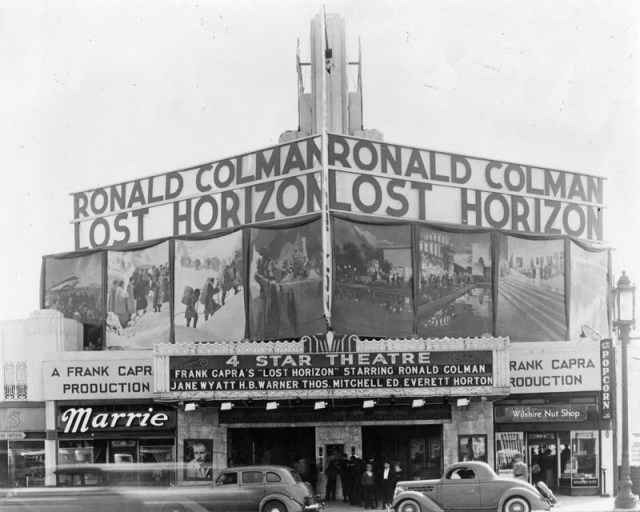 "Frank Capra's ""Lost Horizon"" plays the Four Star Theater, 5112 Wilshire Blvd, Los Angeles, 1937"
