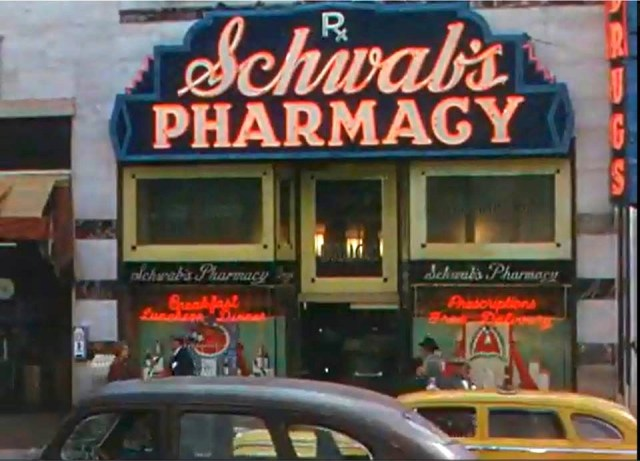 "Screenshot of Schwab's Pharmacy in Sunset Blvd from ""It's a Great Feeling"" (1949)"
