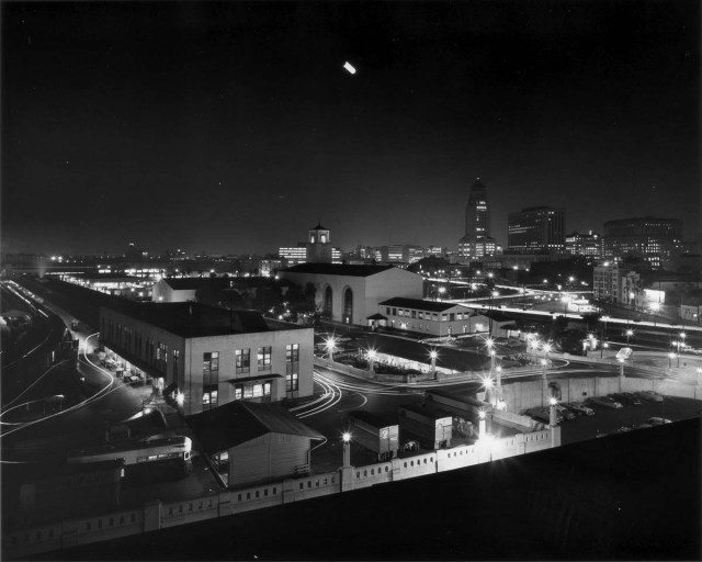 Union Station at night, downtown Los Angeles, 1956