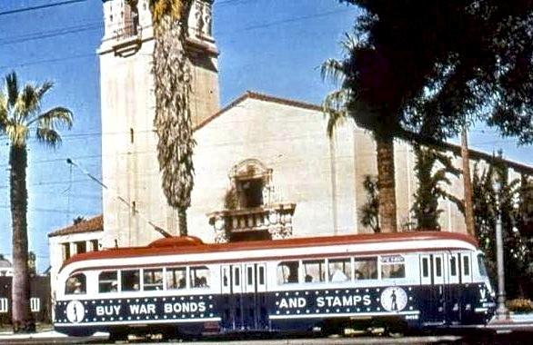 Wartime-era street car, 6th Street, Los Angeles, 1943