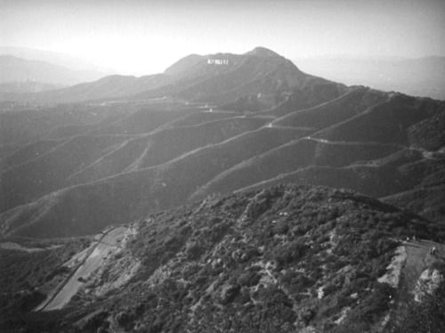 Panoramic view of Mount Lee and the Hollywoodland sign from the peak of Mount Hollywood