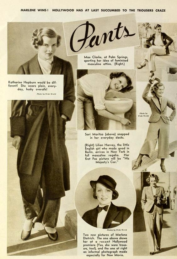An article for women's pants, 1933
