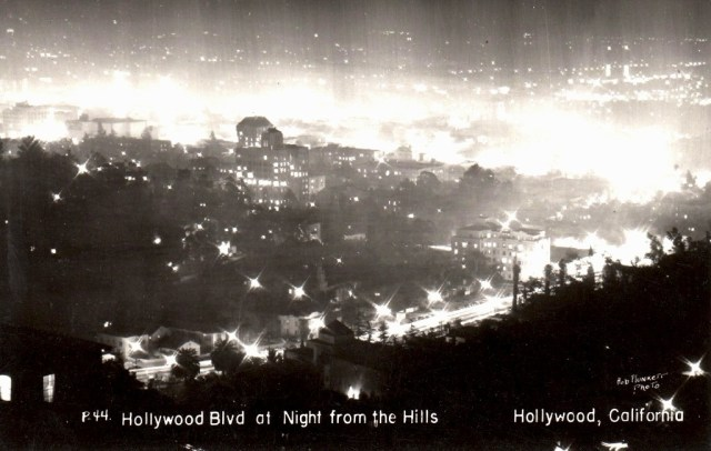 Hollywood at night, as seen from the Hollywood hills