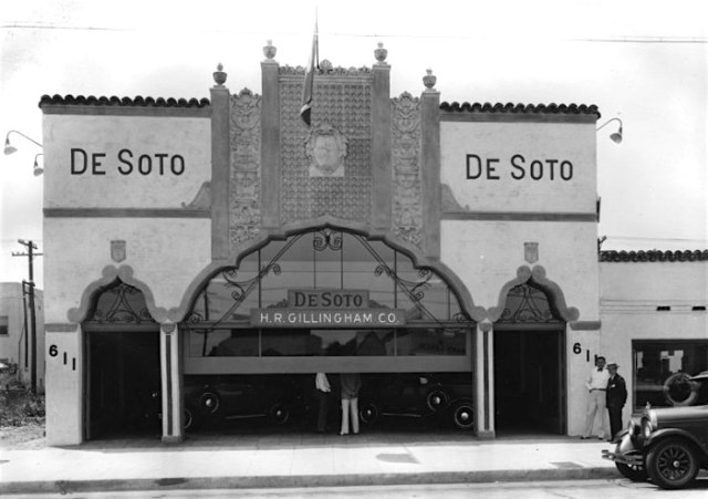 Exterior view of H.R. Gillingham Co., a DeSoto dealership located at 611 South La Brea Ave. Building was designed by Morgan, Walls & Clements, and built circa 1927. Photo dated- July 1929