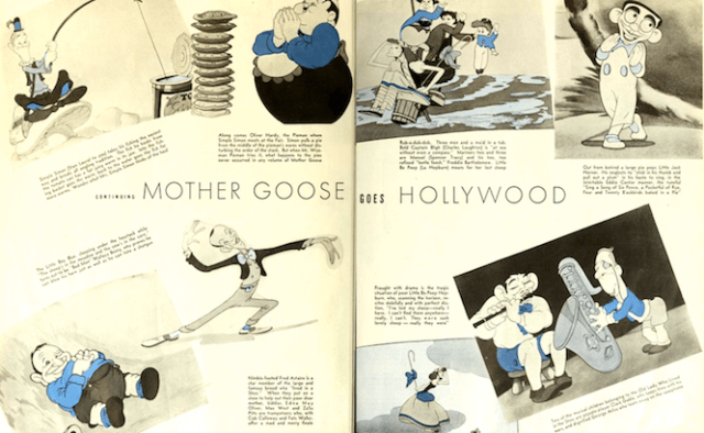 Four pages of hilarious star caricatures by Walt Disney