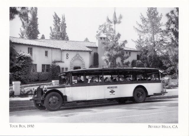 Grayline movie tour bus, Beverly Hills, 1930