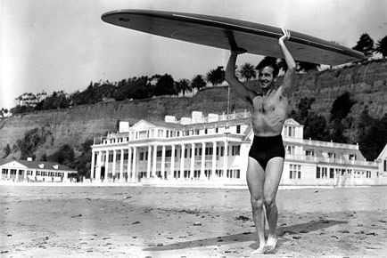 Marion Davies beach house with surfer