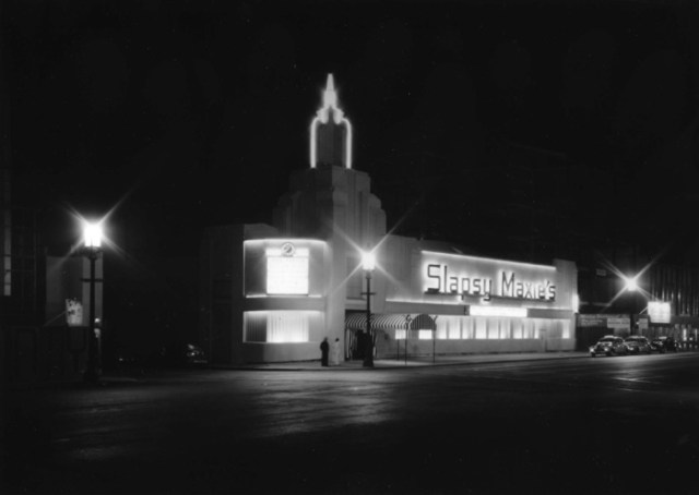 Nighttime View of Slapsy Maxie's, 1947