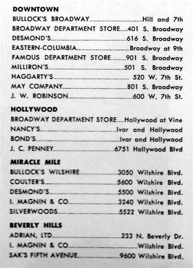 Top Los Angeles shopping from the Los Angeles City Guide for 1950
